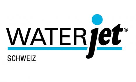 Waterjet Logo der Wasserstrahlspezialisten für Makrowasserstrahlschneiden und Mikrowasserstrahlschneiden